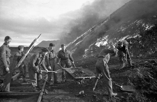 Sappers of the 3rd Field Company, Royal Canadian Engineers, burning coal piles during Operation Gauntlet (taken by Ross Munro) Royal Canadian Engineers sappers burning coal piles during Operation Gaunlet.jpg