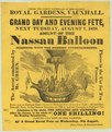 Royal Gardens, Vauxhall. Grand day and evening fete, next Tuesday, August 7, 1838. Ascent of the Nassau Balloon, combined with the evening entertainments LCCN2002724865.tif