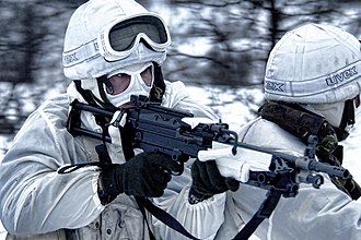 Her Majesty's Naval Service - Image: Royal Marines During Winter Training in Norway MOD 45152252