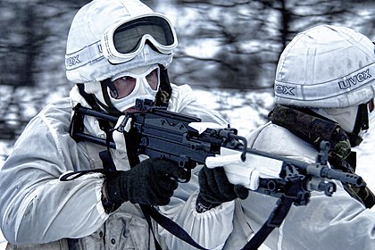 Royal Marines equipped for Arctic warfare during an exercise in Norway
