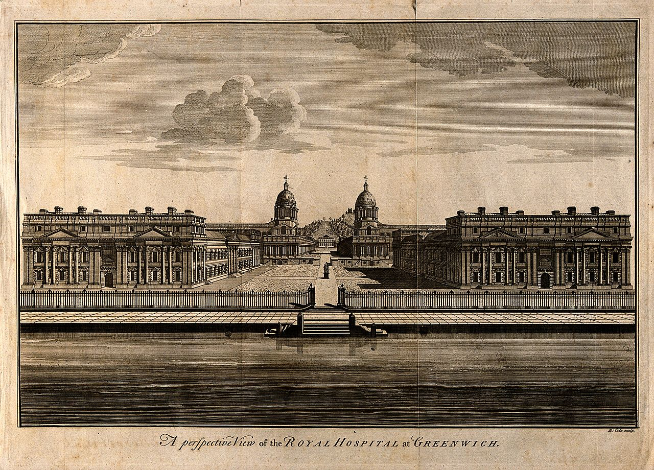 Royal Naval Hospital, Greenwich. Etching by B. Cole. Wellcome V0014667.jpg