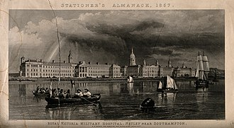 Netley Hospital - Line engraving of Royal Victoria Military Hospital from Southampton Water produced by T. A. Prior in 1857