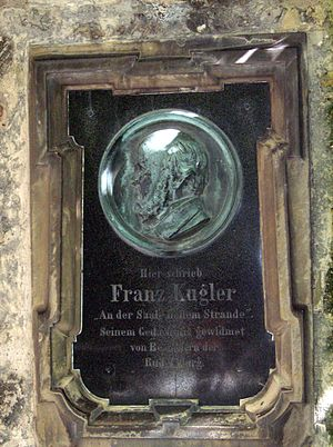 Franz Theodor Kugler - Kugler memorial plaque at Rudelsburg castle
