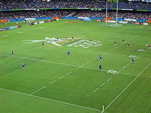 Barassi Line - Rugby sevens being played at the 2006 Commonwealth Games, which was held at Melbourne's Docklands Stadium.