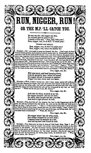 Run, Nigger, Run - Lyrics for the White's Serenaders' Song Book version (1851)