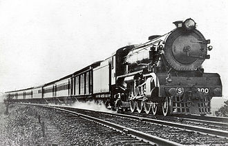 North East railway line - S class 4-6-2 leading the Sydney Limited between Seymour and Melbourne, circa 1928