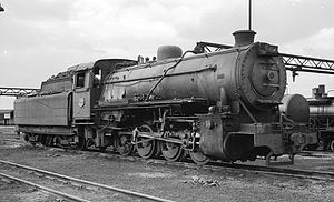 South African Class S 0-8-0 - No. 355 at Millsite, 8 April 1966