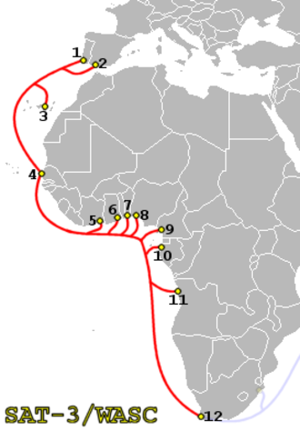 Telecommunications in Angola - SAT-3 WASC route. Point 11 is Launda, Angola.