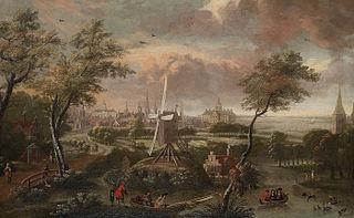 Fantasie-gezicht op Amsterdam vanaf Weesp