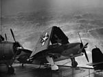 SB2C Helldiver on USS Kwajalein (CVE-98) in a typhoon 1944.jpg