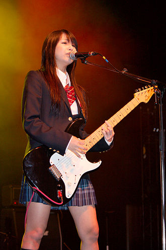 Scandal (Japanese band) - Lead vocalist Haruna performing in France, 2008.