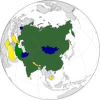 Blue: SCO member states.Green: Observer status.