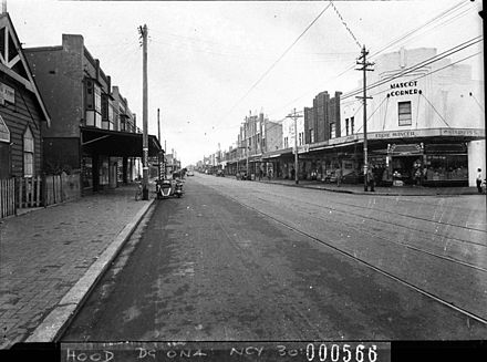 Botany Road, Mascot in 1938 SLNSW 12311 Botany Road Mascot showing Mascot Corner taken for Mascot Council.jpg