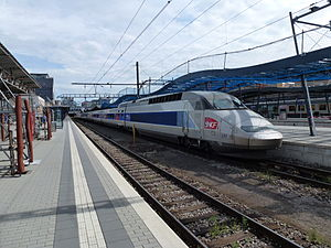 Luxembourg railway station - Luxembourg station is served by trains from all three neighbouring countries. In this view are a French TGV run by the SNCF and, in the background, a Belgian train can be seen.