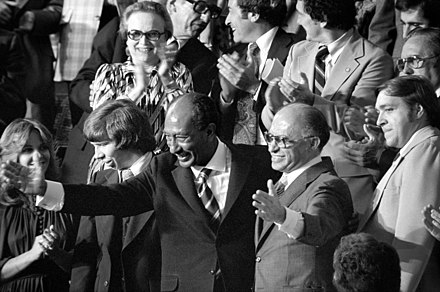 Egyptian President Anwar Sadat and Israeli Prime Minister Menachem Begin acknowledge applause during a joint session of Congress in Washington, D.C., during which President Jimmy Carter announced the results of the Camp David Accords, September 18, 1978. Sadat and Begin clean3.jpg