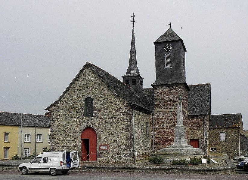 Église Saint-Maugan de Saint-Maugan (35). Façade occidentale.