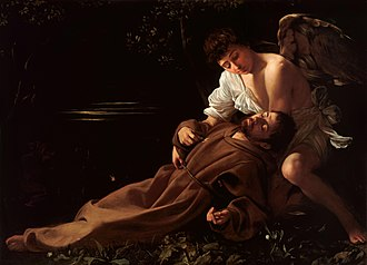 1595 in art - Image: Saint Francis of Assisi in Ecstasy Caravaggio (c.1595)