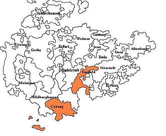 Saxe-Coburg-Saalfeld - Saxe-Coburg-Saalfeld, shown among the other Ernestine duchies