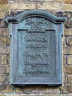 Samuel phelps 1804 1878 tragedian lived here (lcc plaque)