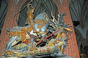 Sten Sture the Elder - Saint George and the Dragon, commonly attributed to Bernt Notke, in Storkyrkan, Stockholm