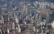 Aerial view of Itaim Bibi and Morumbi, two important financial districts in São Paulo.