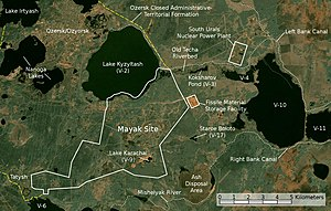 Mayak - Satellite image/map of the Mayak nuclear facility.