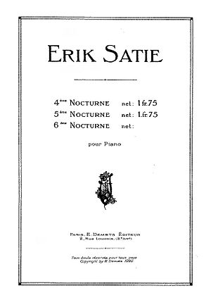 Nocturnes (Satie) - A 1920 advertisement for Satie's Nocturnes, including the projected No. 6 which Satie never completed or published.