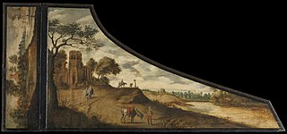 A painting on a harpsichord lid with a hilly landscape and travelers