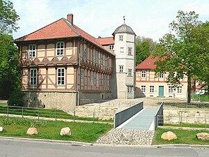 Fallersleben Castle - Inner courtyard of the water castle of Fallersleben and bridge over the reconstructed moat