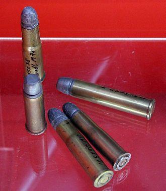 11×58mmR - 11x58mmR Werndl (upper left) with other contemporary European black powder cartridges