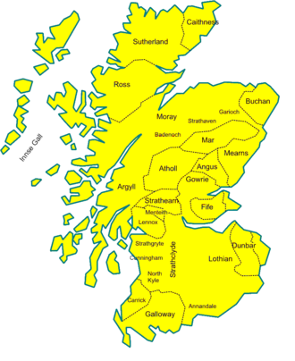 William Comyn, Lord of Badenoch - Map of Scotland, showing the area of Buchan which Comyn ruled over, on the north-east coast, c.1230.