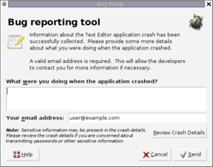 Crash reporter - Bug Buddy in GNOME 2.16