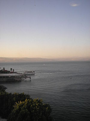 view of the Sea of Galilee from the old city o...