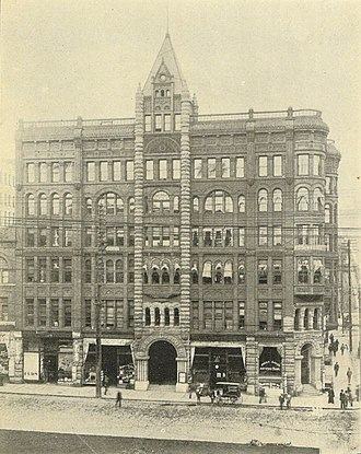 Henry Yesler - Yesler's post-fire Pioneer Building, depicted here in 1900.