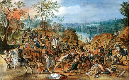 A landscape with travelers ambushed outside a small town, painted by Vrancx Sebastiaan Vrancx (studio) - A landscape with travellers ambushed outside a small town.jpg