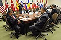 Secretary of Defense Leon E. Panetta meets with Afghanistan's Minister of Defense Bismillah Khan Mohammadi as Panetta attends meetings with other NATO member defense counterparts at NATO Headquarters in Brussels.jpg