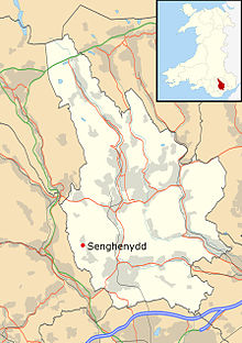 Map of Wales, showing the position of Senghenydd toward the south of the country.