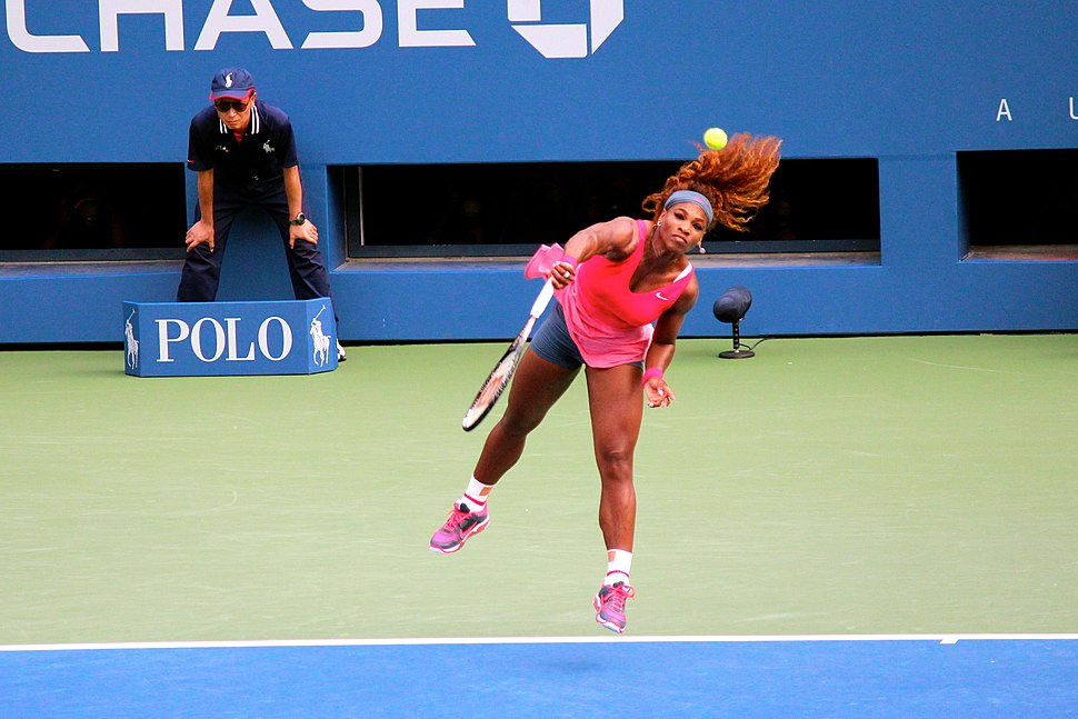 Serena Williams serves at the US Open (9665931630)