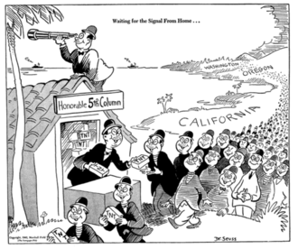 Propaganda for Japanese-American internment - 1942 editorial cartoon in the New York newspaper PM  by Theodor Seuss Geisel (later author Dr. Seuss) depicting Japanese-Americans on the West Coast as prepared to conduct sabotage against the US