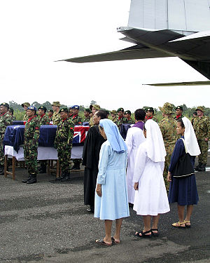 2005 Nias Island Sea King crash - Many Nias locals, including Catholic religious, joined with Indonesian and Australian troops to honour the deceased in a ceremony held as their remains were loaded into an RAAF Hercules aircraft