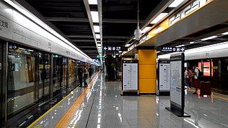 Line 9 (Shenzhen Metro) - CRRC Changchun train at Yuanling station