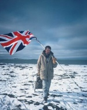 George Meegan - Final steps of the Longest Walk, Union Jack on shoulder (1983)