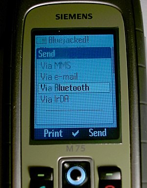 Bluejacking - This Siemens M75 is Bluejacking the Sony Ericsson K600i pictured below