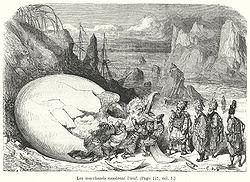 Quinto viaje de Simbad, según una ilustración del siglo XIX.
