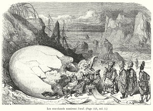 Roc (mythology) - The merchants break the roc's egg, Le Magasin pitoresque, Paris, 1865