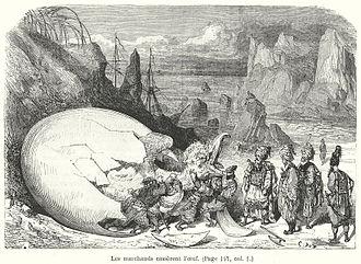 Roc (mythology) - The merchants break the roc's egg, Le Magasin pitoresque, Paris, 1865
