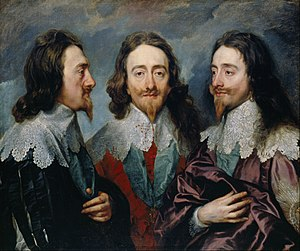 Portrait painting - Anthony van Dyck, Charles I in Three Positions, 1635-1636, shows profile, full face and three-quarter views, to send to Bernini in Rome, who was to sculpt a bust from this model.