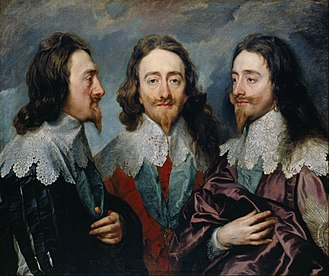 Charles I in Three Positions - Charles I in Three Positions, also known as the Triple portrait of Charles I by Van Dyck, (1635 or 1636), Royal Collection