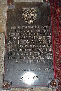 Sir Thomas More family's vault in St Dunstan's Church (Canterbury).jpg