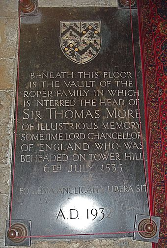 Sir Thomas More family's vault Sir Thomas More family's vault in St Dunstan's Church (Canterbury).jpg